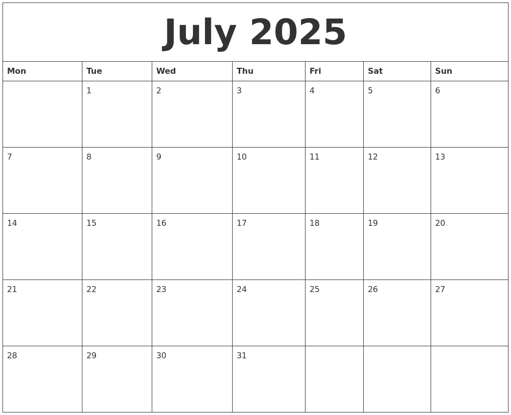 July 2025 Free Printable Monthly Calendar