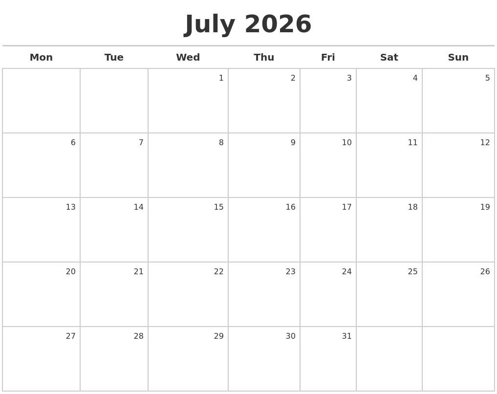 July 2026 Calendar Maker