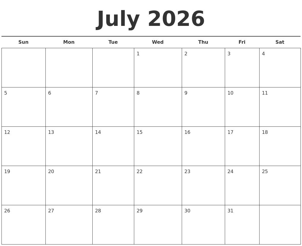July 2026 Free Calendar Template
