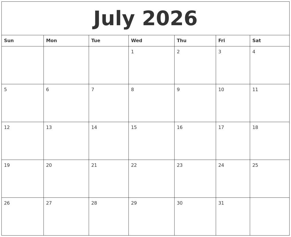 July 2026 Free Printable Calenders