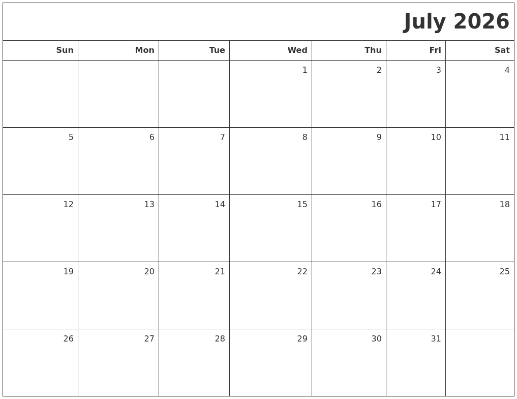 January 2027 Blank Printable Calendar