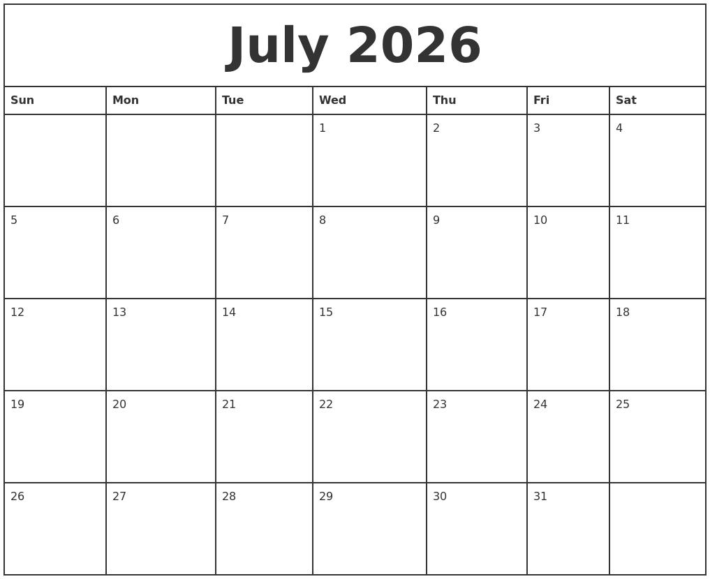 Monthly Calendar July Printable : November monthly calendar template