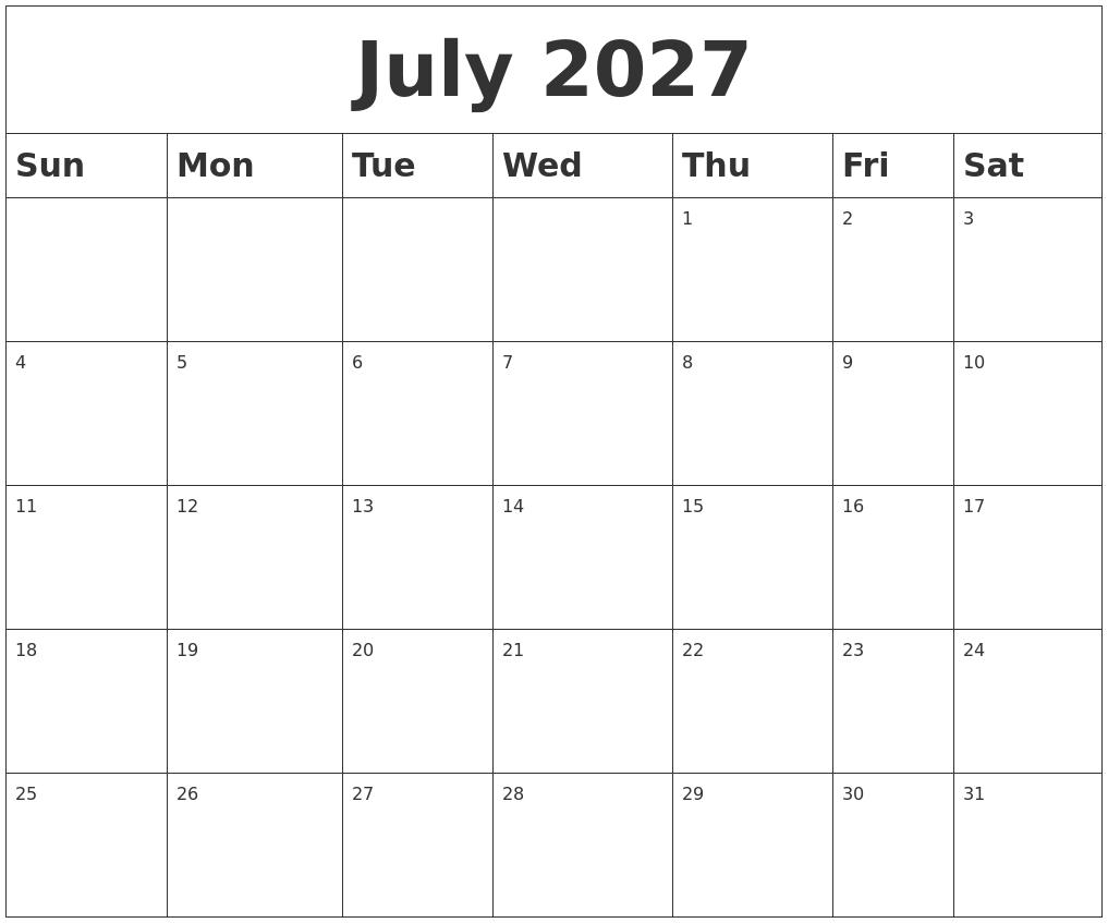 July 2027 Blank Calendar