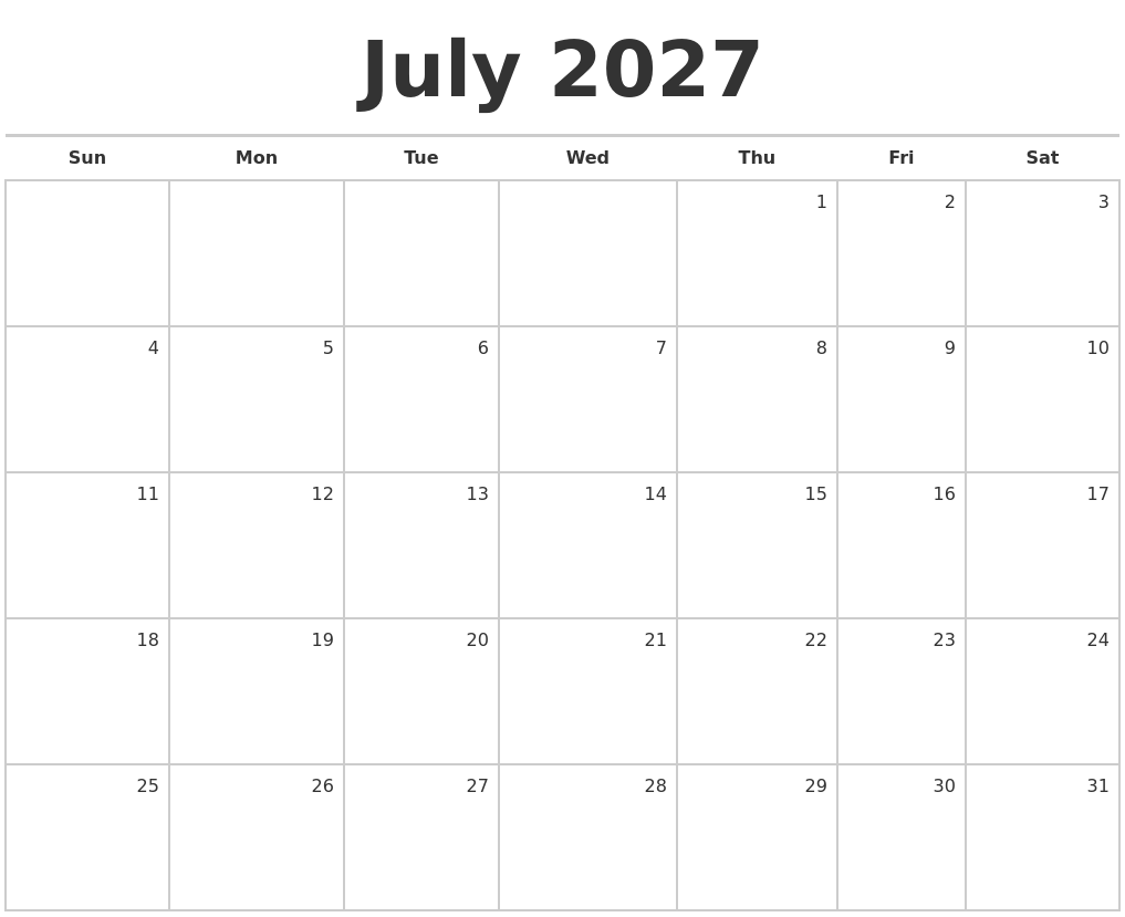 May 2027 Monthly Calendar Template