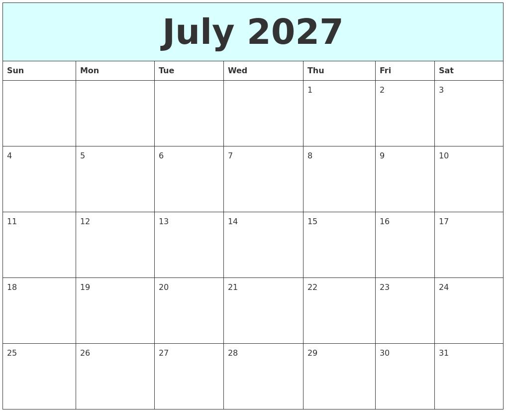 January 2027 Printable Calendar