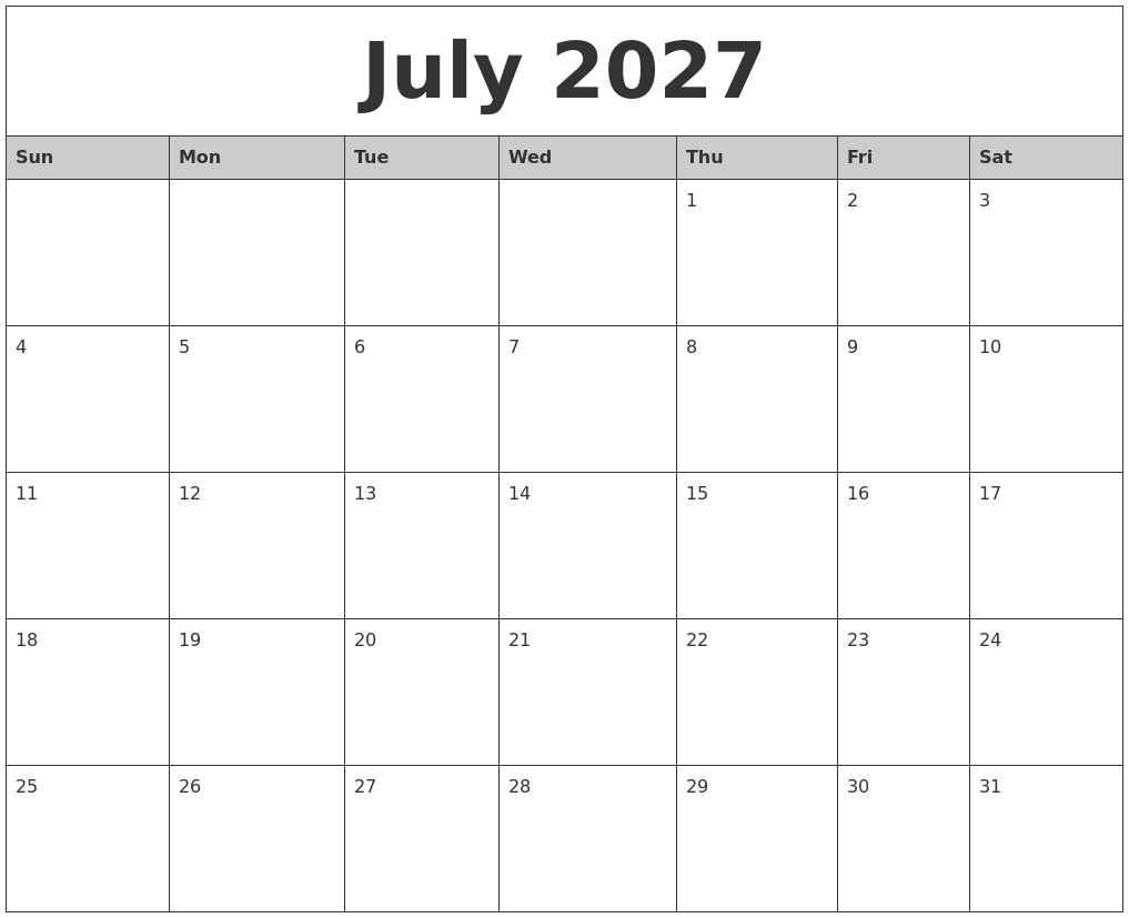 July 2027 Monthly Calendar Printable
