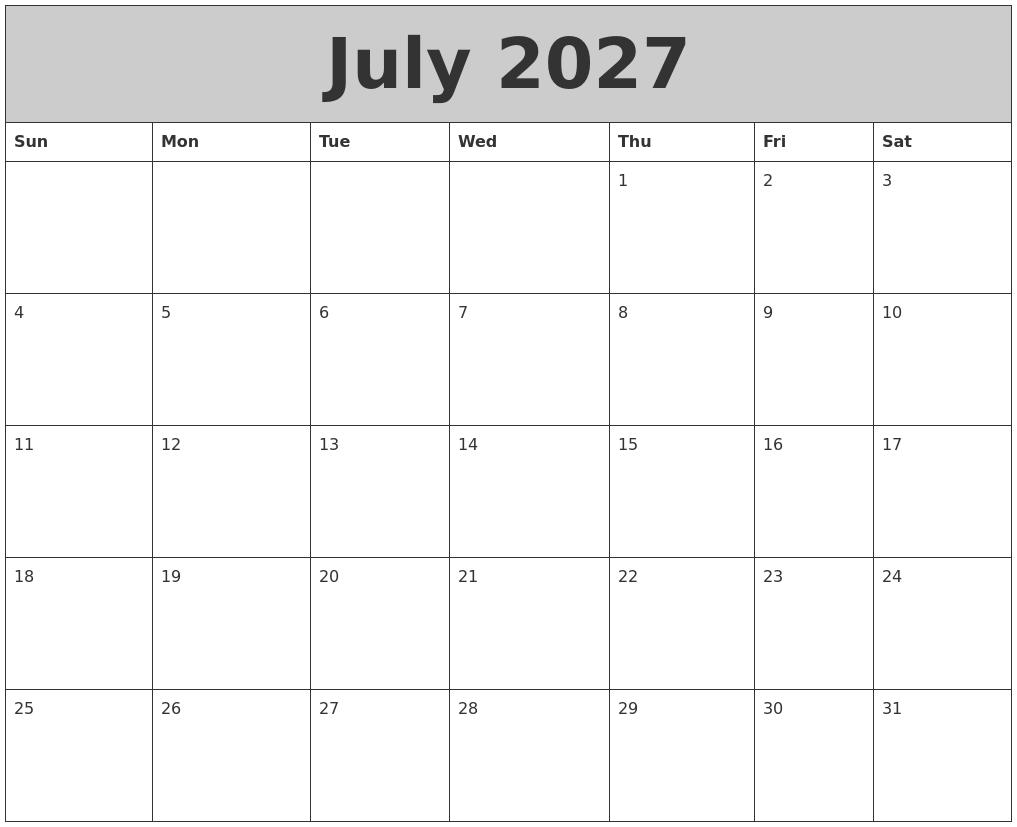 October 2027 Blank Calendar Template