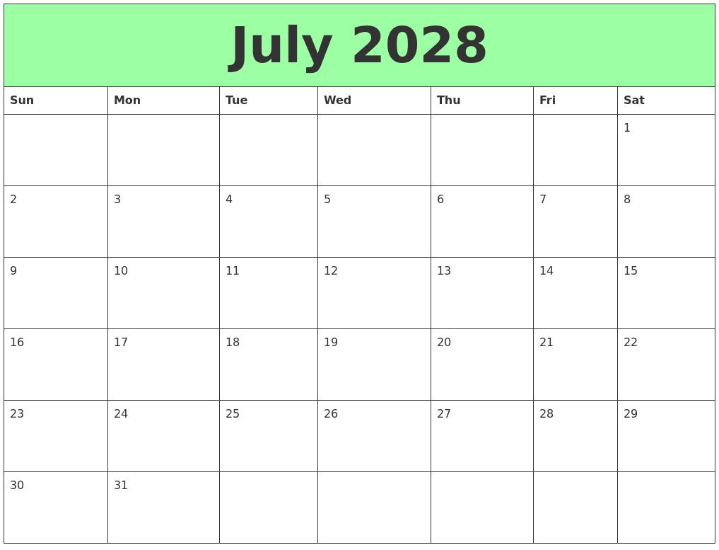 January 2028 Free Printable Calendar