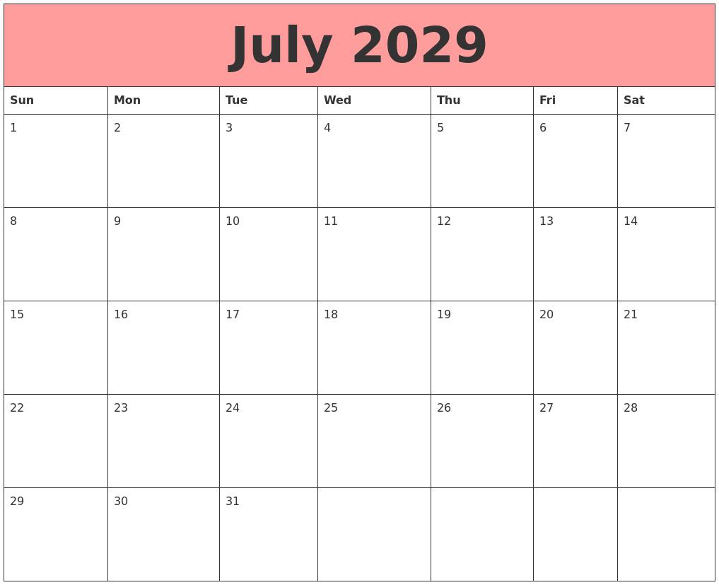 September 2029 Printable Monthly Calendar