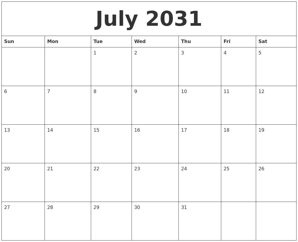May 2031 Print Blank Calendar