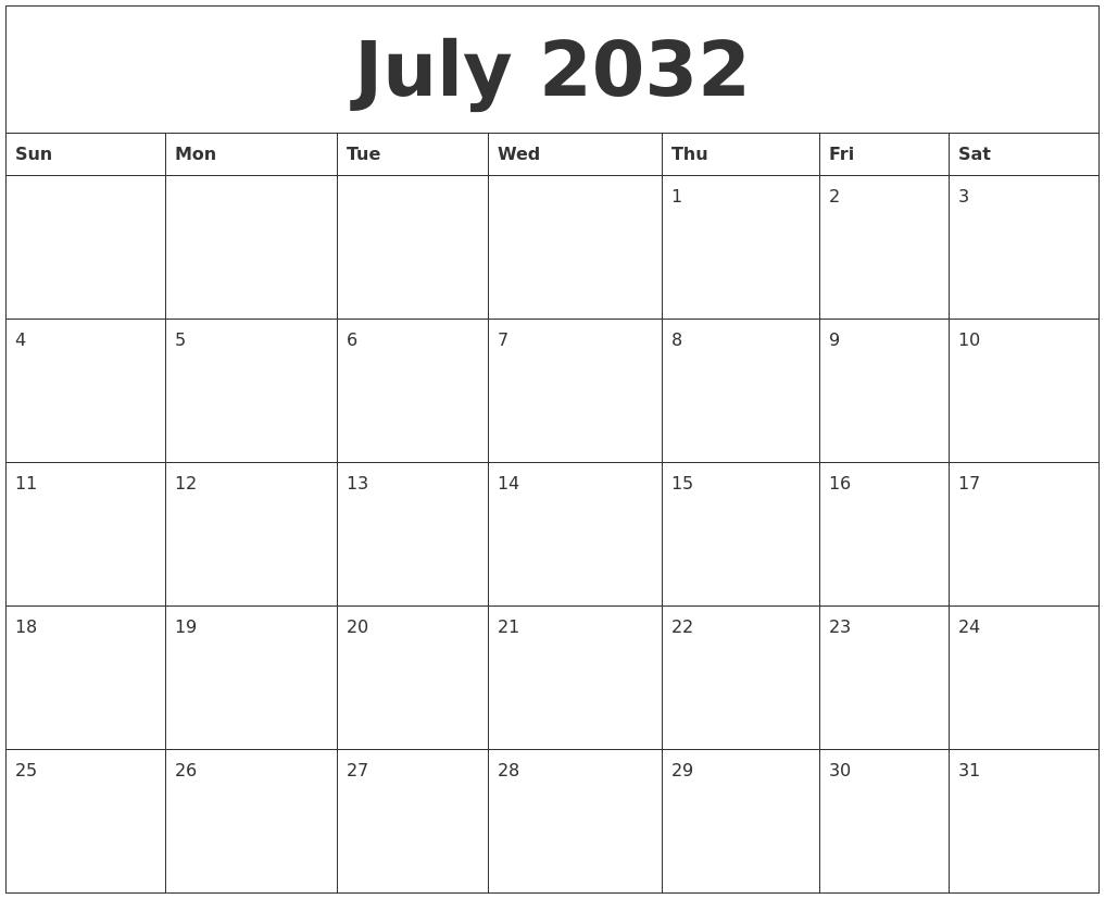 2032 Calendar August 2032 calendar month
