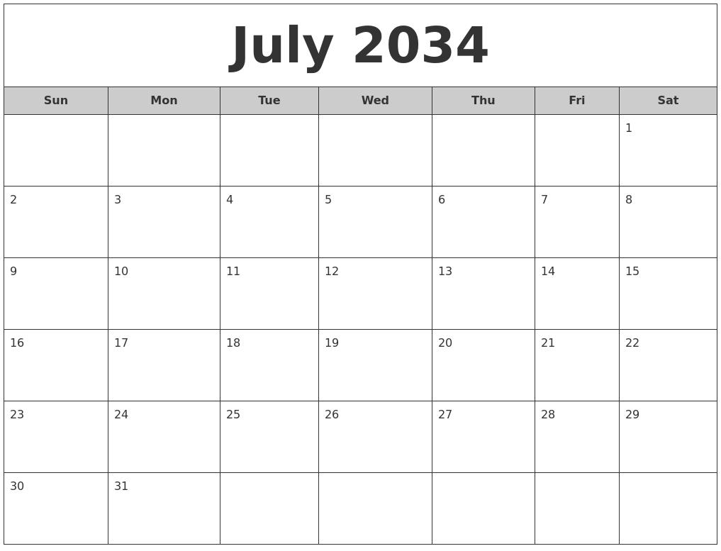 August 2034 Calendar Pages