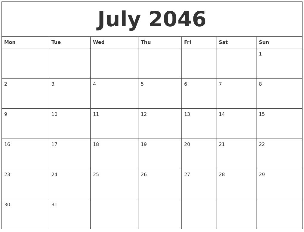 July 2046 Birthday Calendar Template