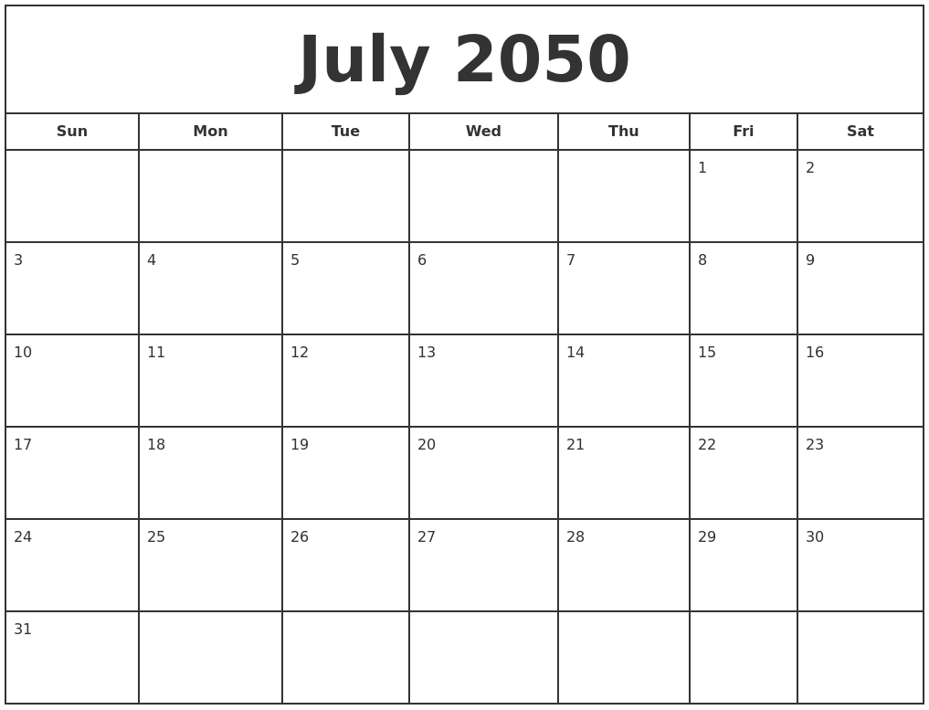 May 2050 Free Calendar Template