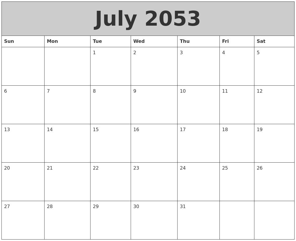 July 2053 My Calendar