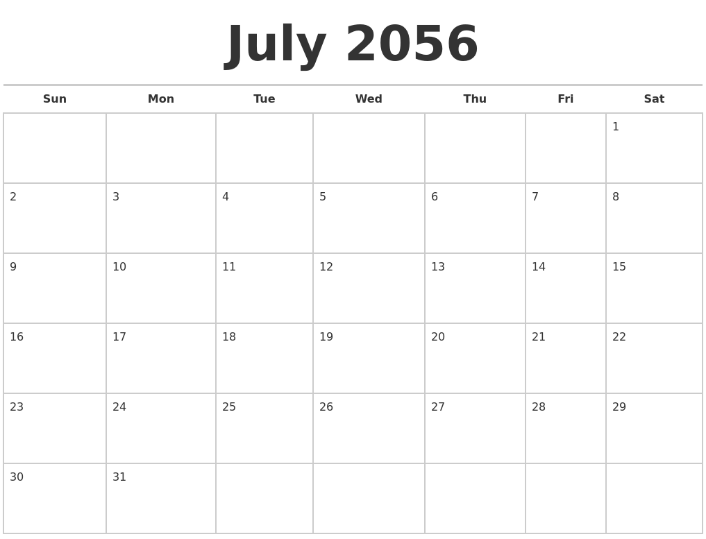July 2056 Calendars Free