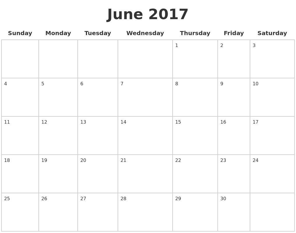 June 2017 Blank Calendar Pages PDF's