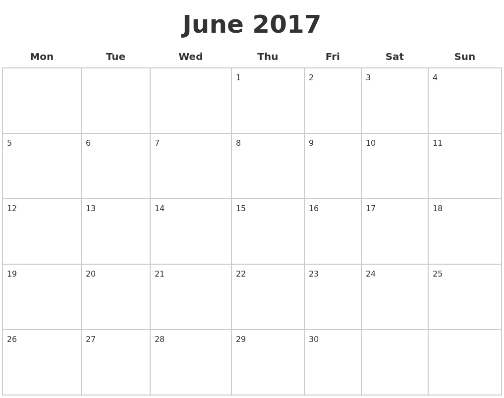 June 2017 Blank Calendar Pages PDF's