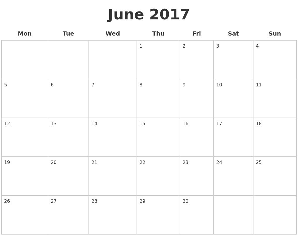 June Calendar Page : June blank calendar pages
