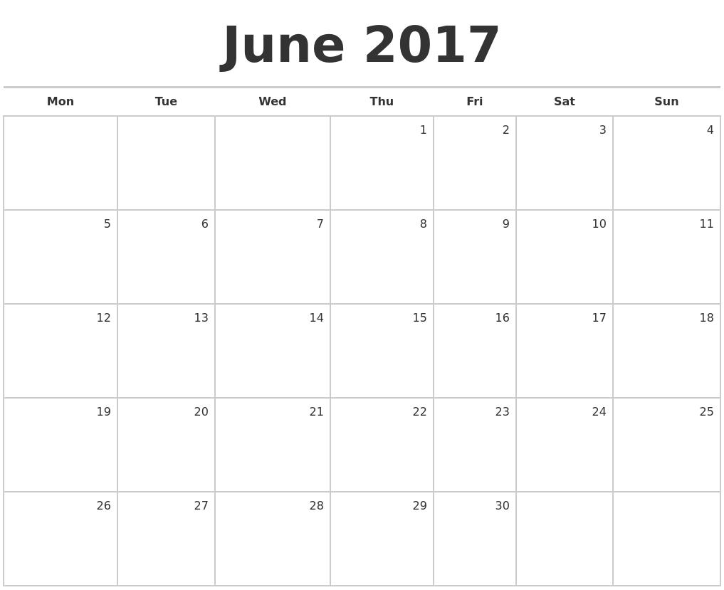 2017 calendar blank