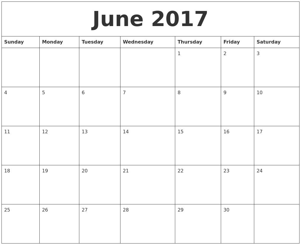 June 2017 Calendar PDF's