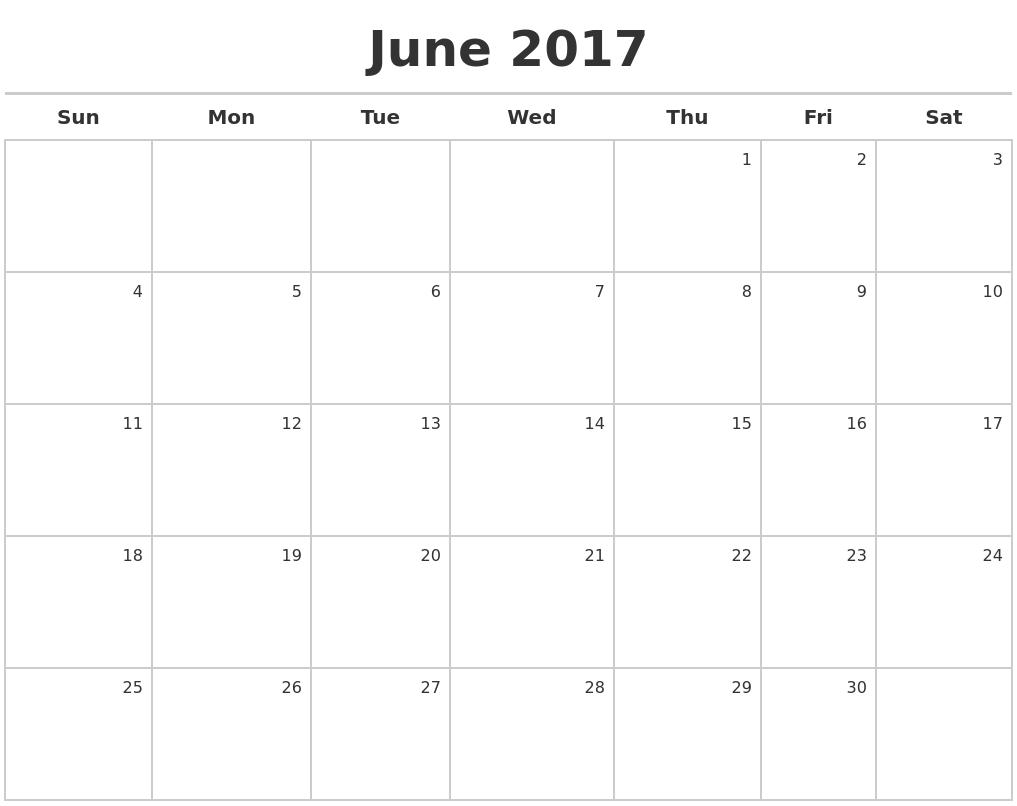 October 2017 Month Calendar