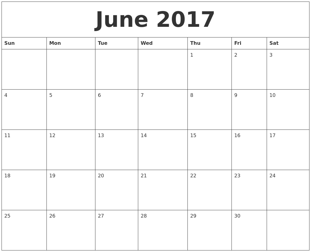 Free June 2017 Calendar Template – Printable Pages
