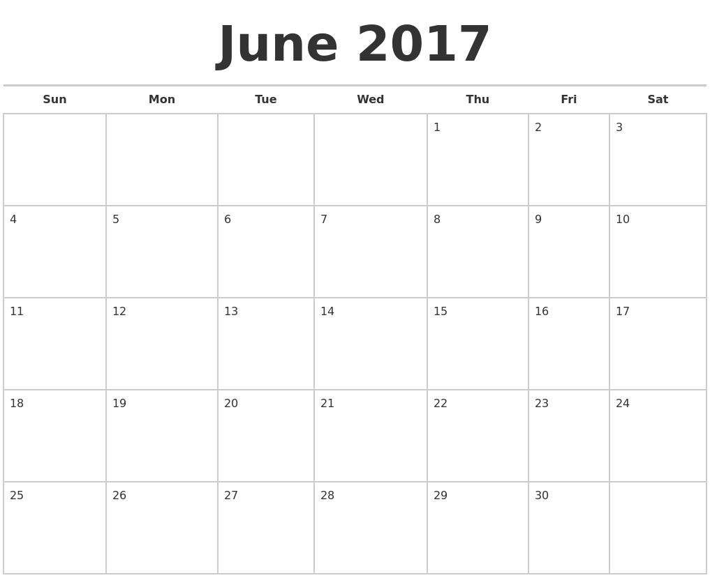 September 2017 Blank Calendar Pages