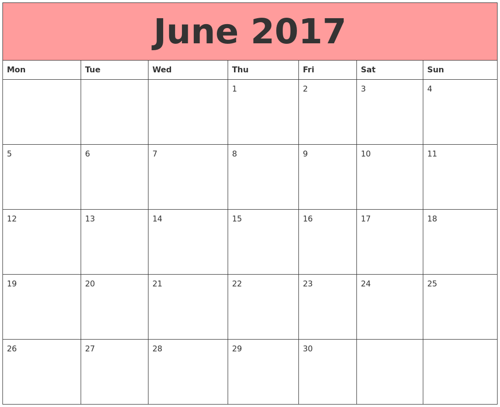 June 2017 Calendars That Work PDF's