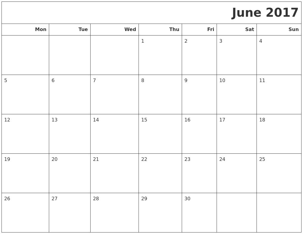 calendar june 2017 pdf printable