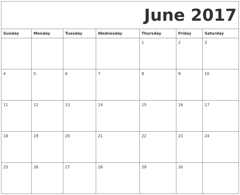 June 2017 Free Printable Calendar PDF's