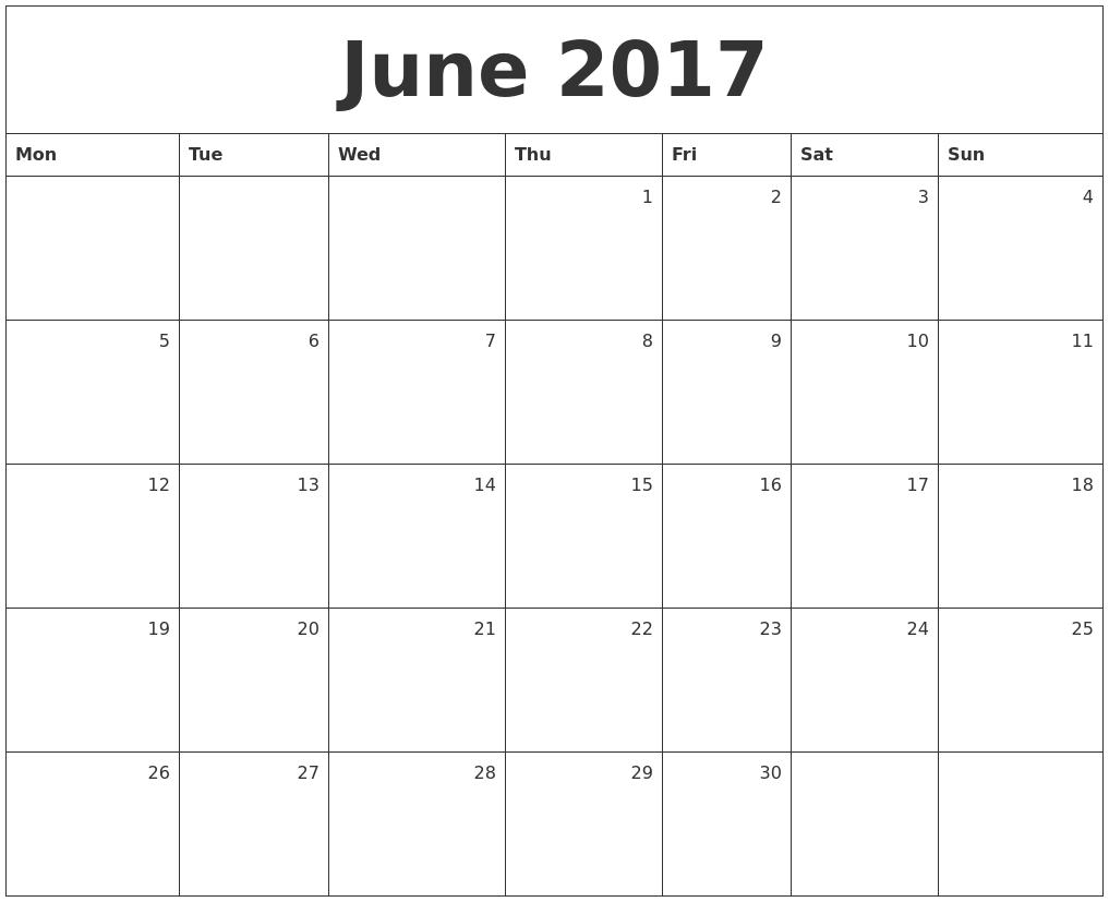 June 2017 Monthly Calendar PDF's