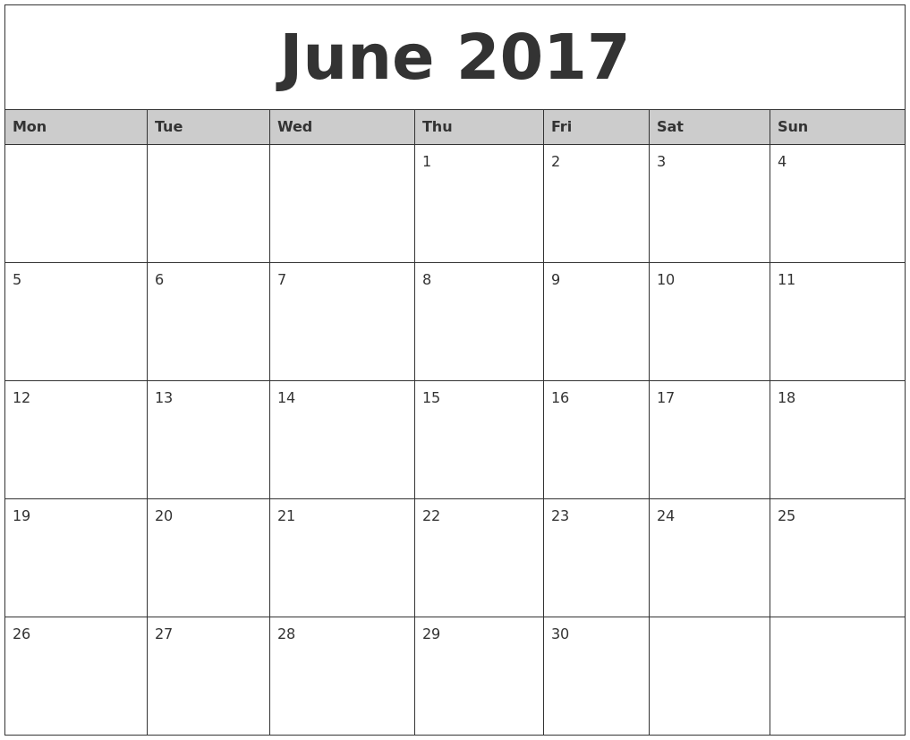 June 2017 Monthly Calendar Printable PDF's