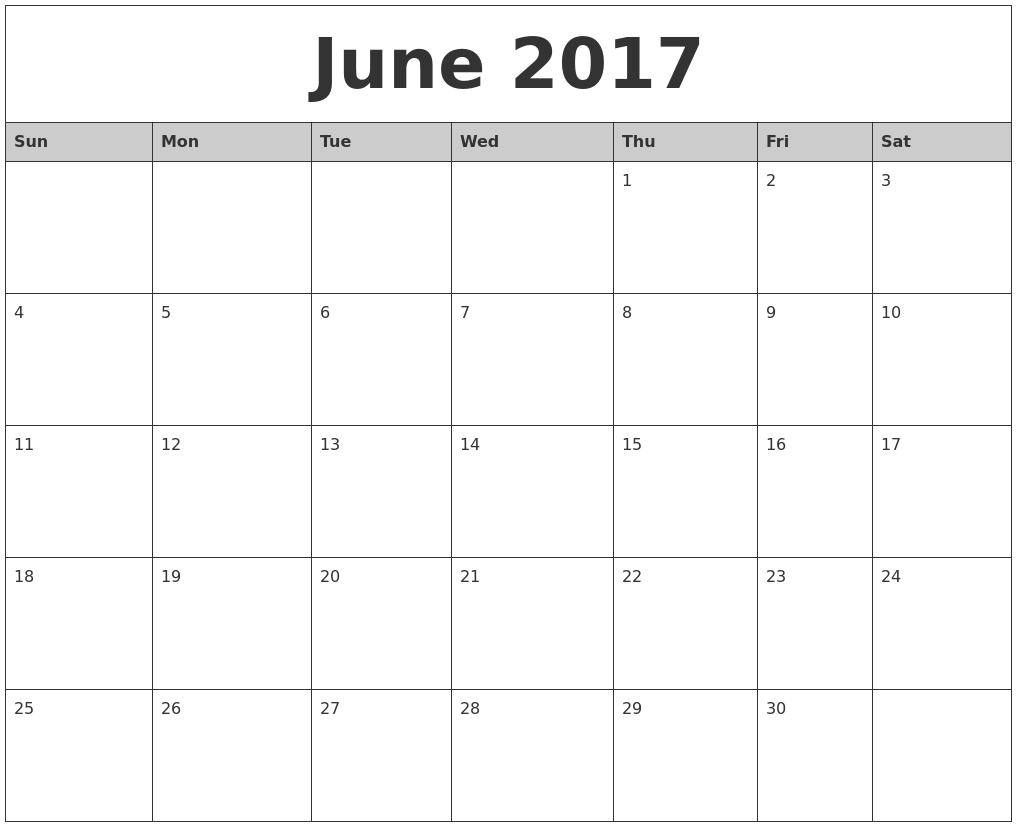 June 2017 Monthly Calendar Printable