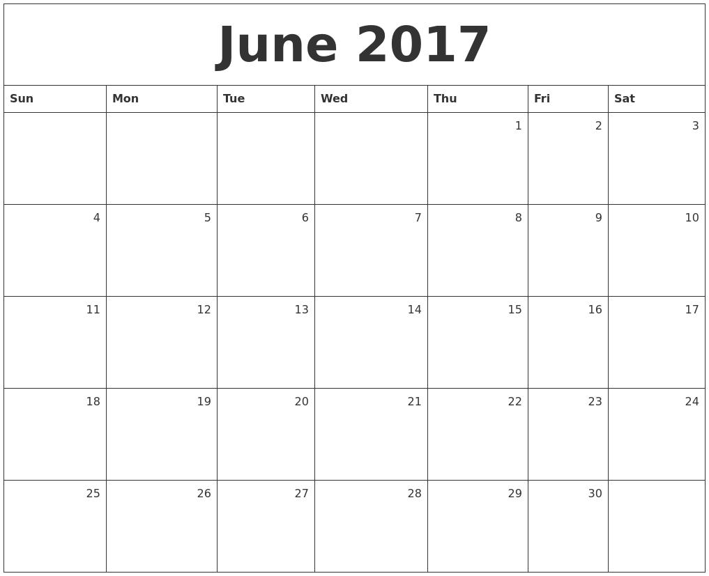 Calendar Month June : June calendars