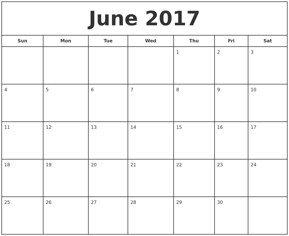 September 2017 Blank Monthly Calendar