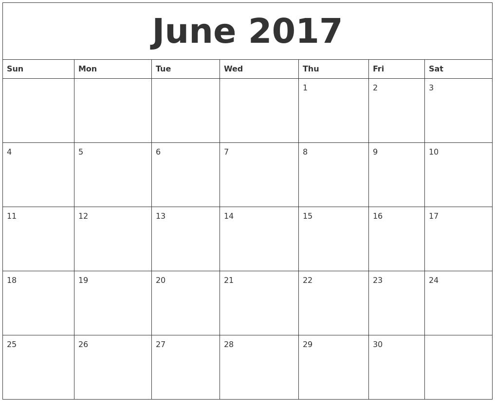 July 2017 Print Blank Calendar