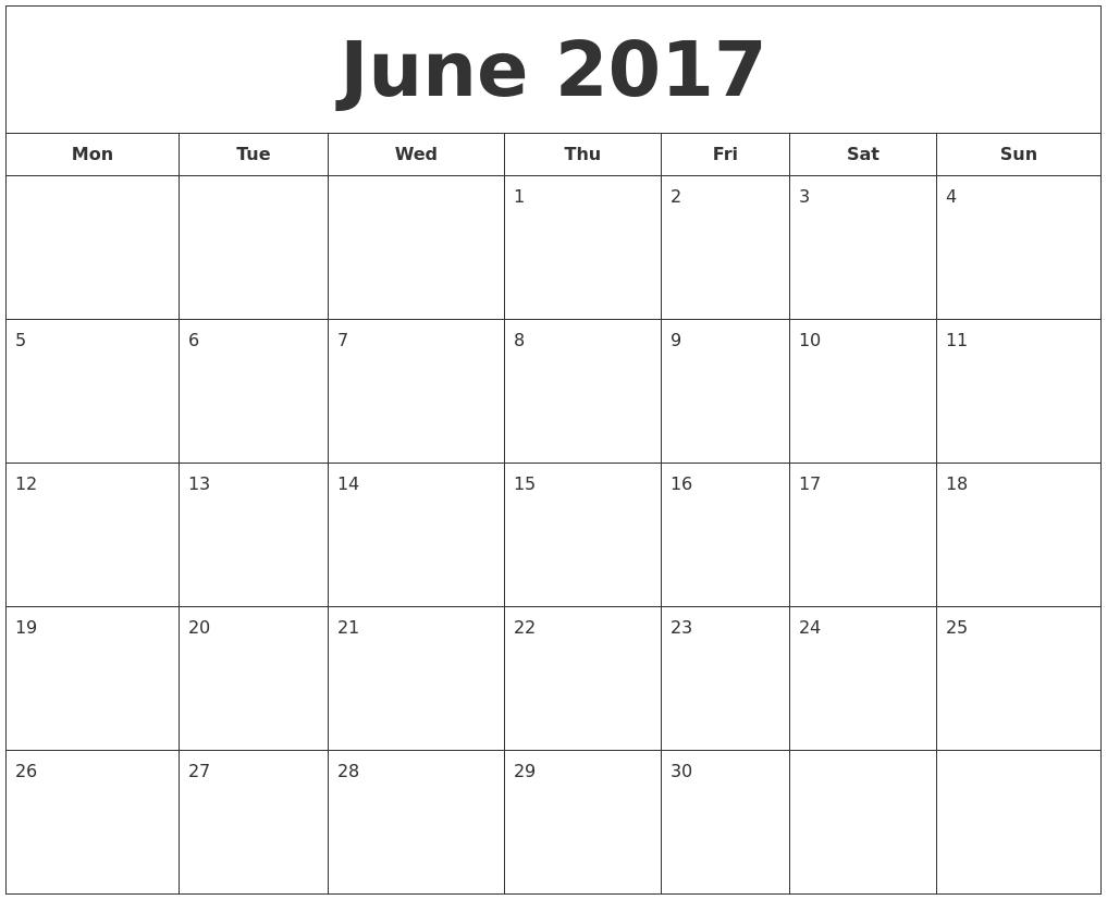 June 2017 Printable Calendar PDF's