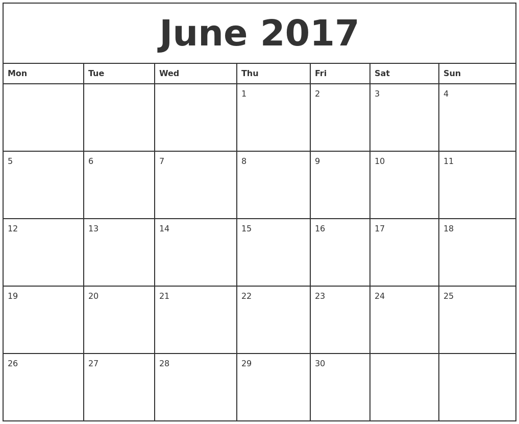 Calendar Monthly June : June printable monthly calendar