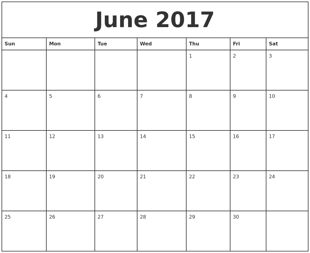 June 2017 Printable Monthly Calendar – Printable Monthly Calendars
