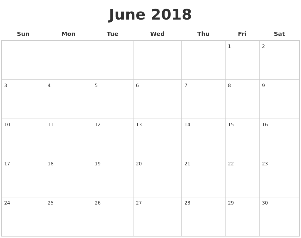 June 2018 Blank Calendar Pages