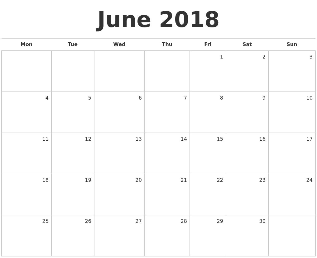 june july calendar 2018