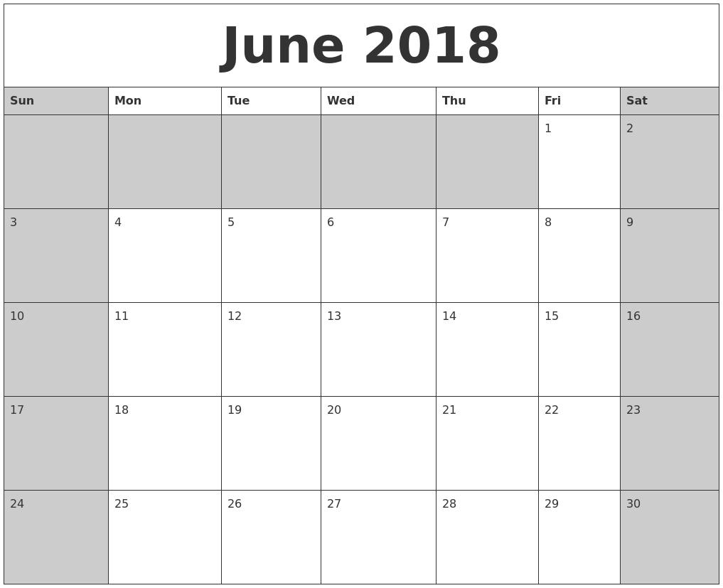june 2018 calanders