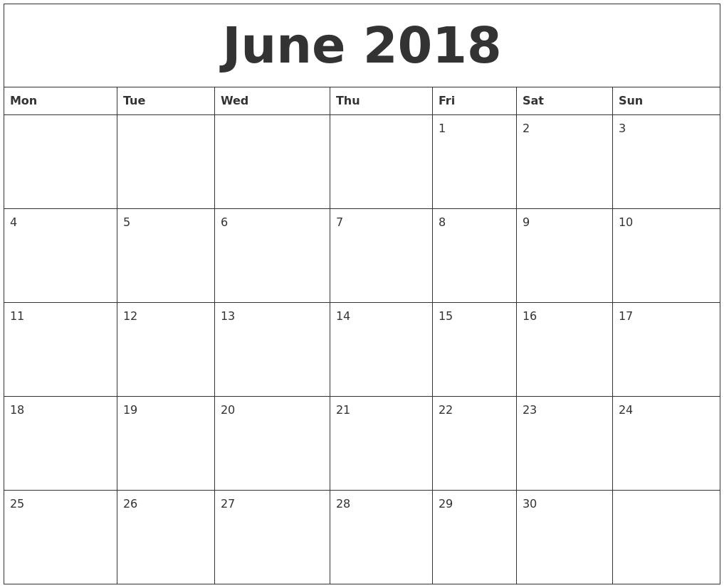 June 2018 Calendar Month