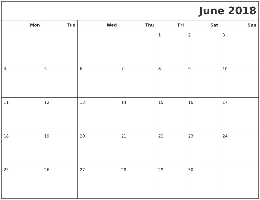 June 2018 Calendars To Print