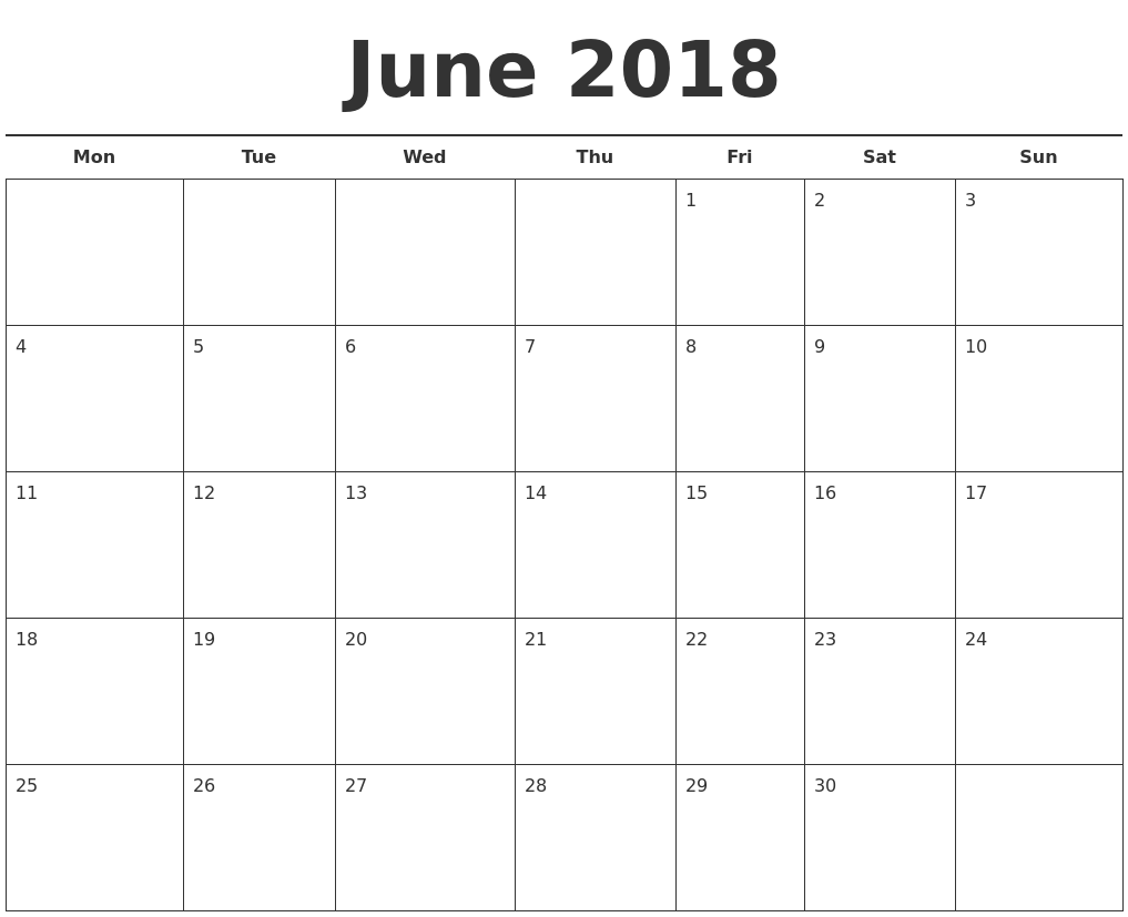 June 2018 free calendar template for Free calendar template 2018