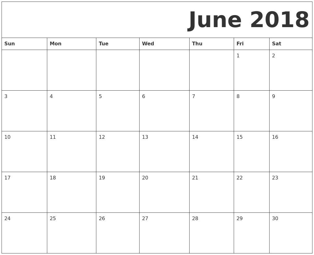 Calendar Pages June : June free printable calendar