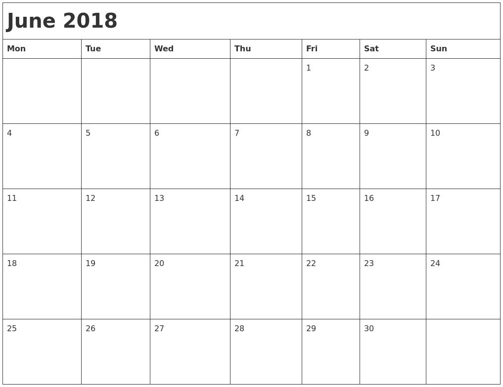 June 2018 Month Calendar