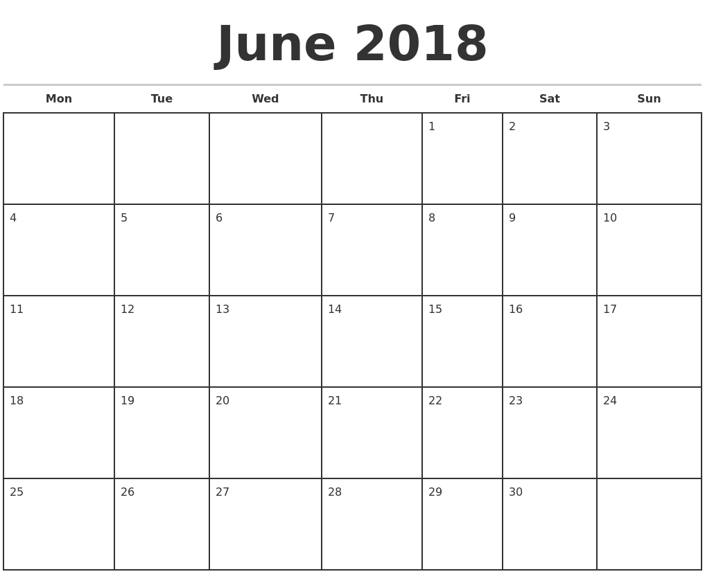 June 2018 Monthly Calendar Template