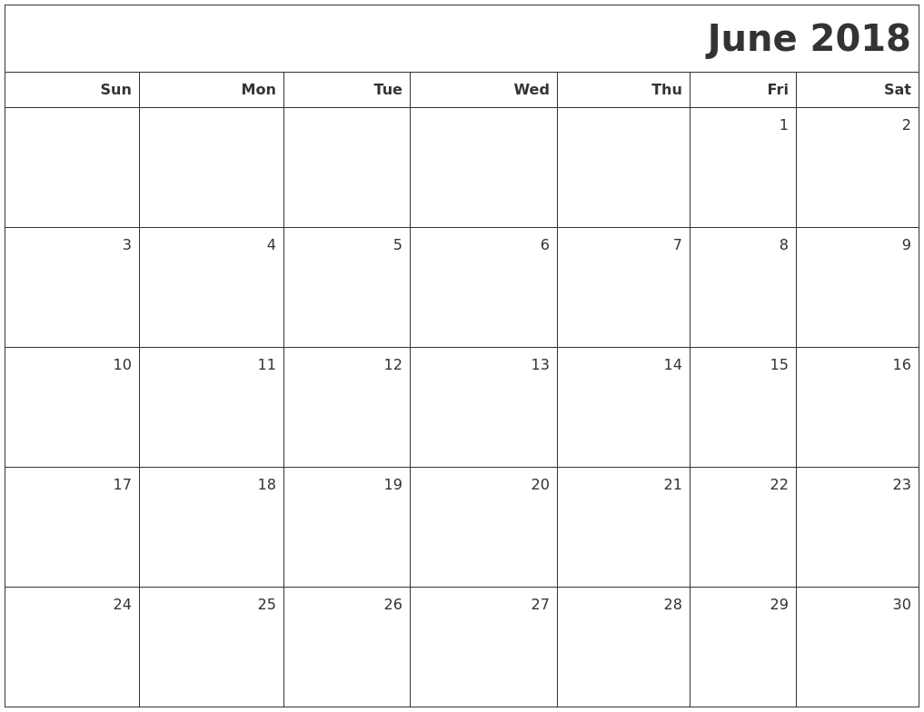 Calendar Blank June : June calendars
